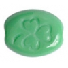 Glass Bead Oval-3leaf Clover Green 10x8mm